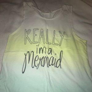 """really I'm a mermaid"" ombré small tank"